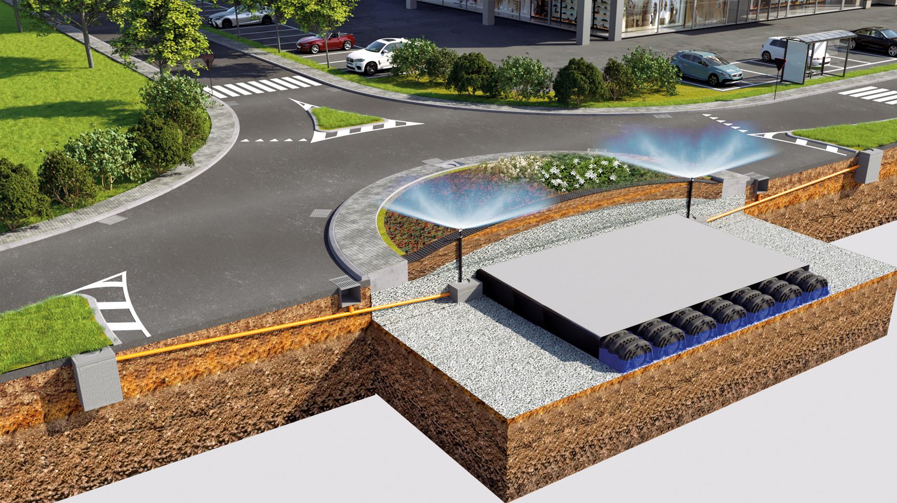 Eine Kosten einsparende und nachhaltige Lösung für das Design einer Kreisverkehrsinsel bieten die Geoplast Produkte  Drainroof und Drening in Kombination mit einer Sedum Vegetation, das die Auswirkungen von urbanen Hitzeinseln abschwächt  und die Hochwass