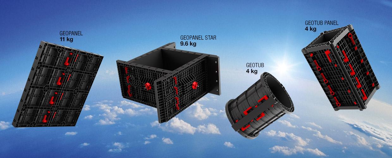 Geoplast Betonschalungen aus ABS Kunststoff für Wände, quadratische Pfeiler, runde Säulen aus Beton