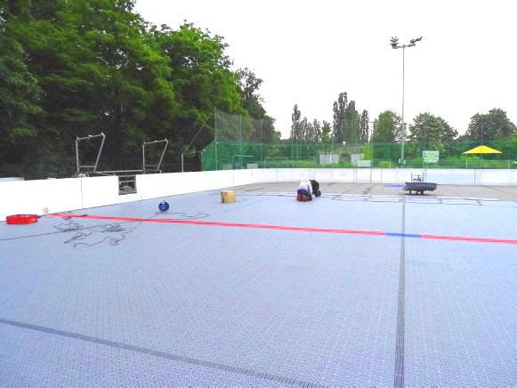 Montage Inlinehockey Sportboden DJK Schwetzingen Huskies