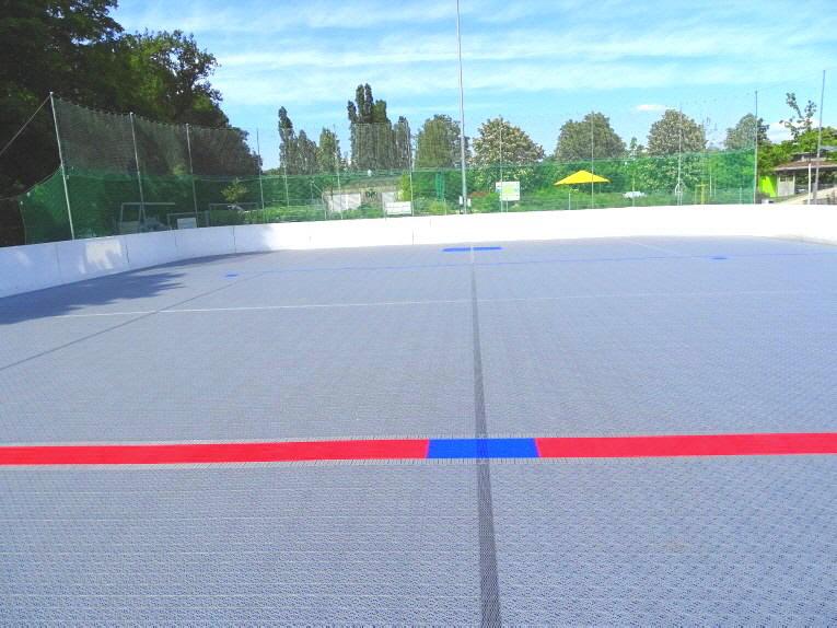 Inlinehockey DJK Huskies rote Mittellinie Sportboden  Kunststoff