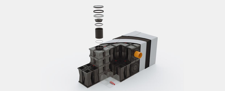 Aqua-Box ist ein unterirdisches Kunststoffmodul, in dem Wasser gesammelt und gespeichert wird